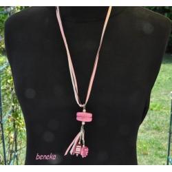 Collier - Sautoir - Macaron rose