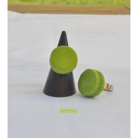 Bague macaron vert
