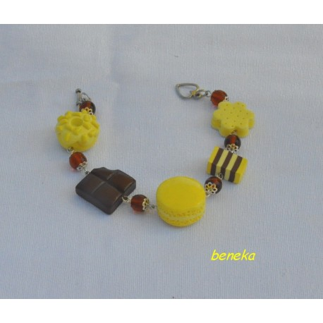 Bracelet macaron jaune