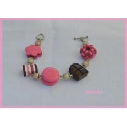 Bracelet macaron rose