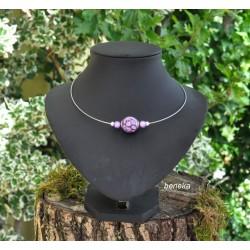 Collier fleurettes violet