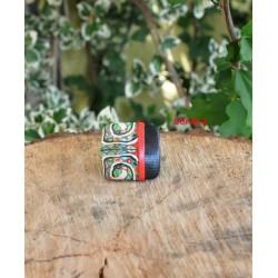 Bague aztèque noir et vert