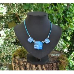 Collier carré ou rond Veron bleu