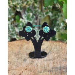 Boucles d'oreilles fleurettes bleu lagon