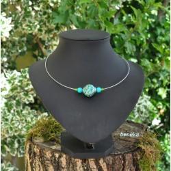 Collier fleurettes bleu lagon