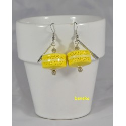 Boucles d'oreilles - Macaron jaune