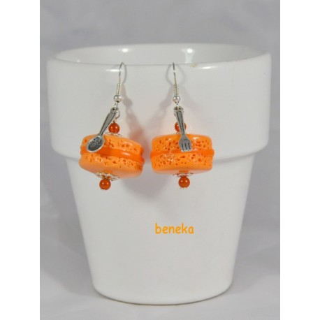 Boucles d'oreilles macaron orange
