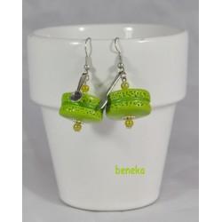 Boucles d'oreilles - Macaron vert