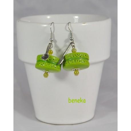 Boucles d'oreilles macaron vert