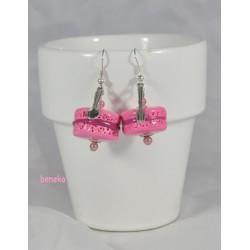 Boucles d'oreilles macaron rose