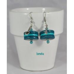 Boucles d'oreilles macaron bleu