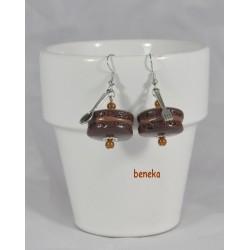Boucles d'oreilles macaron chocolat