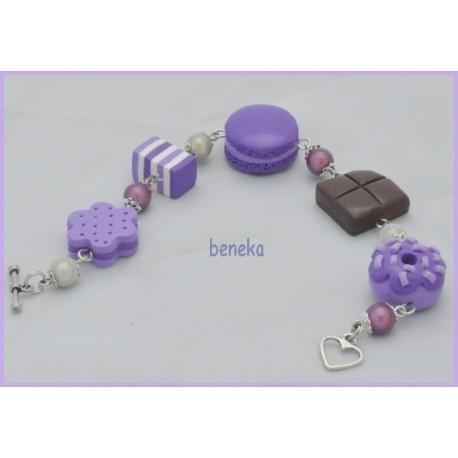 Bracelet macaron violet