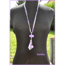 Sautoir macaron violet