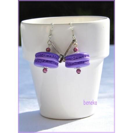 Boucles d'oreilles macaron violet