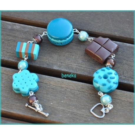 Bracelet macaron bleu