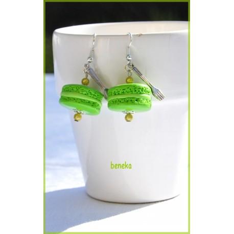 Boucles d'oreilles macaron vert pomme
